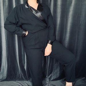 Vtg black classy suit style satin vneck jumpsuit
